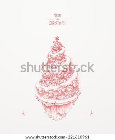 Christmas greeting card. Christmas tree - stock vector
