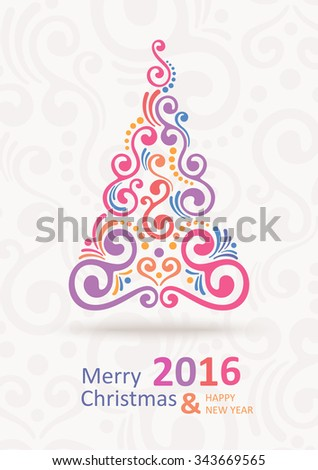 Christmas Greeting Card. Christmas  tree. Merry Christmas lettering, vector illustration