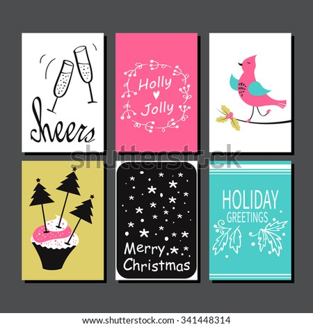 Christmas greeting card collection hand drawn stock vector 341448314 christmas greeting card collection hand drawn design for winter holiday gift tags stickers and m4hsunfo