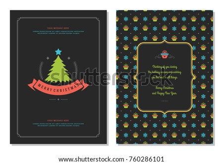 Christmas greeting card design template. Merry Christmas and holidays wishes retro typographic label and place for text. Vector illustration.