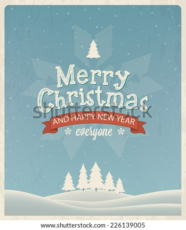 Christmas greeting card design. Vector landscape background - stock vector