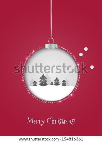 Christmas greeting card design with bauble ornament. Vector illustration - stock vector