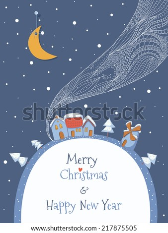Christmas greeting card. EPS 10. Transparency. Gradients. - stock vector