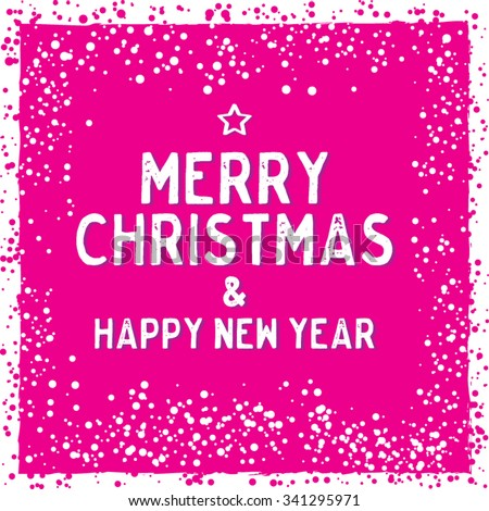 Christmas Greeting Card in Pink. Merry Christmas lettering. Stylish elements for design. Vector illustration.  - stock vector