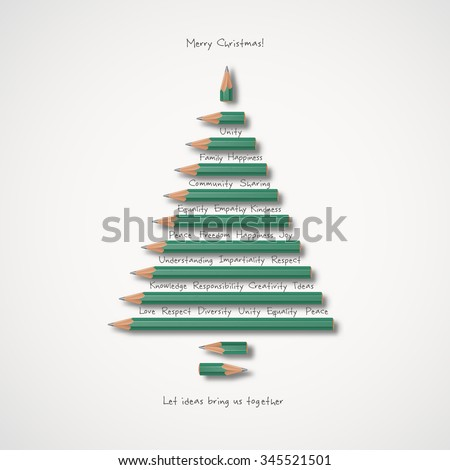 Christmas greeting card- Let ideas bring us together - stock vector