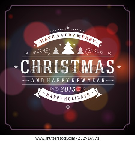 Christmas greeting card light vector background. Merry Christmas holidays wish design and vintage ornament decoration. Happy new year message. Vector illustration.  - stock vector