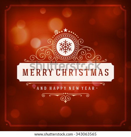 Christmas greeting card lights vector background. Merry Christmas holidays wish message typography design and decorations. Vector illustration. - stock vector