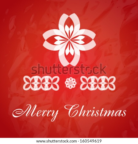 Christmas Greeting Card. Merry Christmas. Abstract Flower symbol template. As sign, symbol, logo, web, label, emblem. Vector illustration. Eps 10 - stock vector