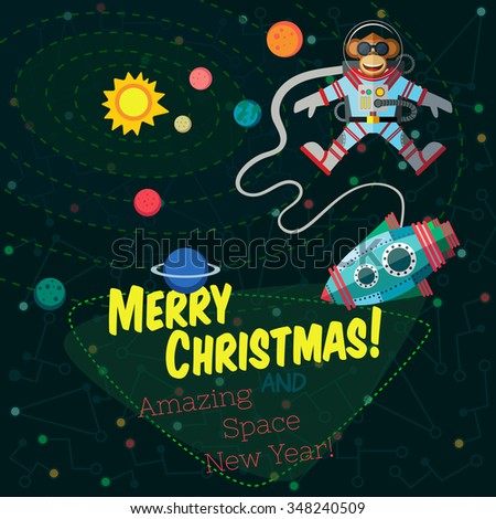 Christmas greeting card: Merry Christmas and amazing space New Year. Monkey astronaut in outer space in flat style.