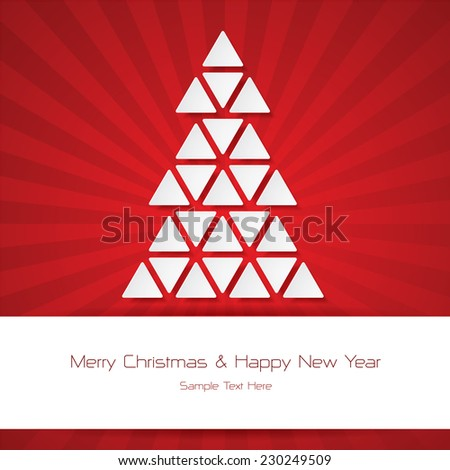 Christmas Greeting Card. Merry Christmas and Happy New Year over red color burst background.