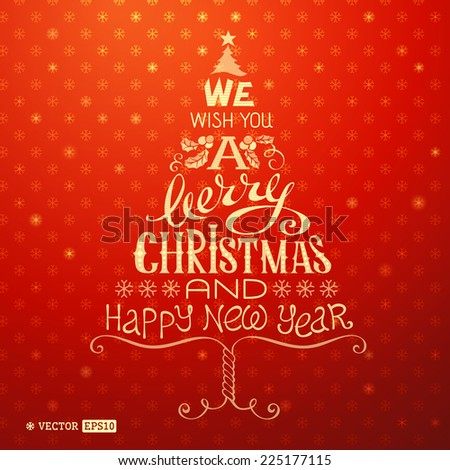 Christmas greeting card. Merry Christmas hand-written lettering on bright red background. - stock vector