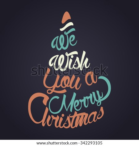Christmas Greeting Card. Merry Christmas lettering. Typographical design. - stock vector