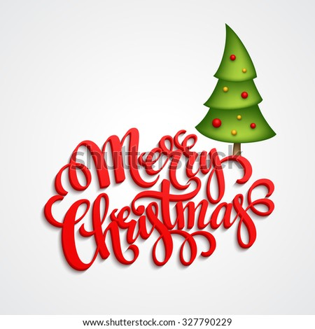 Christmas Greeting Card. Merry Christmas lettering, vector illustration EPS 10 - stock vector