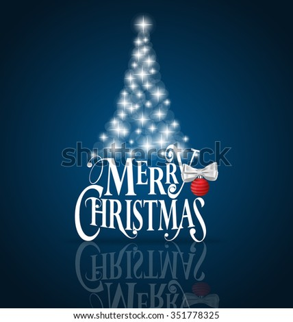 Christmas Greeting Card. Merry Christmas lettering with Christmas tree, vector illustration. - stock vector
