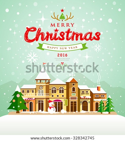 Christmas Greeting Card. Merry Christmas lettering with houses snow on background, vector illustration