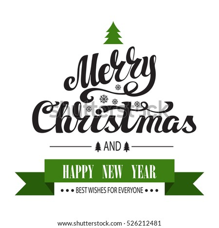 Christmas Greeting Card. Merry Christmas vector handwriting lettering. Vintage  background,flat simple style.New Year wishes.Christmas tree,ribbon. Calligraphy design.Illustration