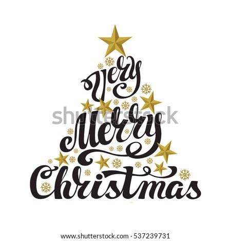 Christmas Greeting Card Merry Vector Handwriting Lettering Vintage Snowflakes Background PatternChristmas