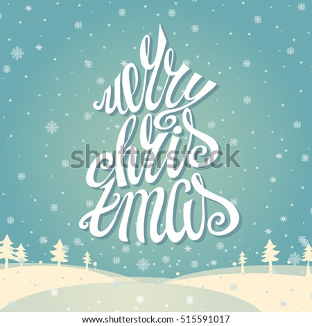 Christmas greeting card merry christmas vector stock photo photo christmas greeting card merry christmas vector handwritting lettering vintage cyan snowflakes background with white m4hsunfo