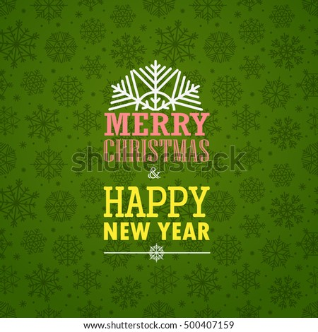 Christmas greeting card on background with snowflakes