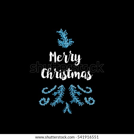 Christmas greeting card on black background with blue elements and text Merry Christmas