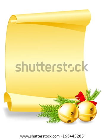 Christmas greeting card - paper scroll wishlist with bells  - stock vector