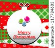 Christmas Greeting Card. Patchwork christmas background with christmas balls. - stock vector