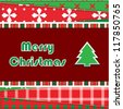 Christmas Greeting Card. Patchwork christmas background with christmas tree - stock vector