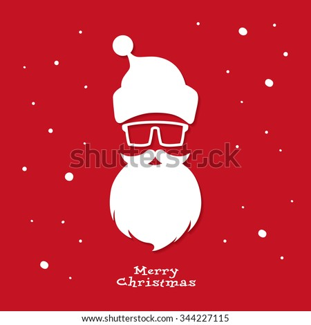 Christmas greeting card. Santa Claus. Hipster style. Vector illustration