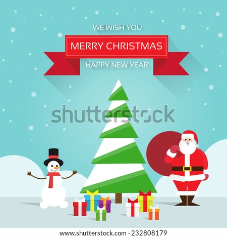 christmas greeting card Santa claus snowman near tree with gift box presents, merry christmas and happy new year banner over winter snow background - stock vector
