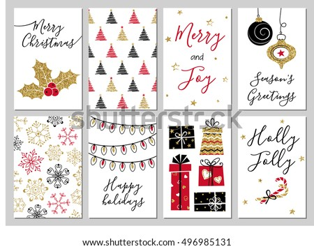 Christmas Gift Tags Cards Calligraphy Hand Stock Vector