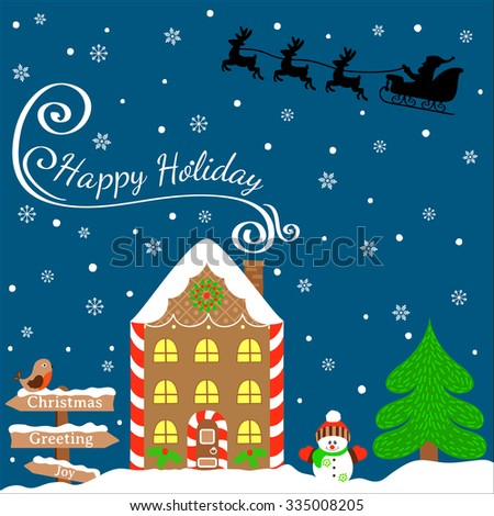Christmas greeting card template, vector Merry Christmas, happy holidays. Winter design. Illustration of gingerbread house, snowman, fir and other decoration. Christmas banner, festive background - stock vector
