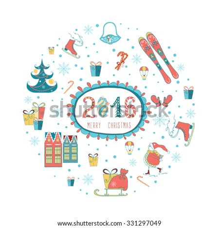 Christmas greeting card template, vector Merry Christmas. Winter holiday design, frame wreath design made of childish doodles: Snowman, houses, gifts, winter tree, mittens, ski, skate. - stock vector