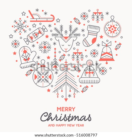 Christmas Greeting Card Template Outlined Signs Stock Vector - Christmas greeting card template
