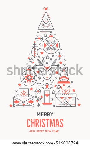 Christmas Greeting Card Template Outlined Signs Stock Vector - Christmas card templates to color
