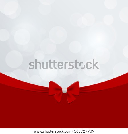 Christmas greeting card vector design template. Happy New Year creative concept. Vintage retro style. Red Bow Ribbon on Bokeh background. Copyspace. - stock vector