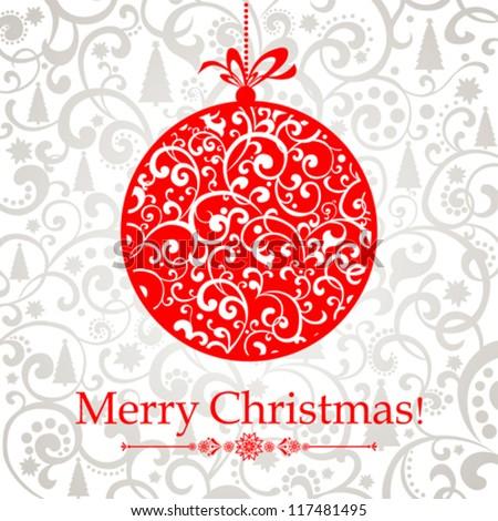 Christmas Greeting Card. Vintage card with Christmas ball. vector illustration - stock vector