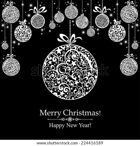 Christmas Greeting Card. Vintage card with Christmas ball. vector illustration  - stock vector