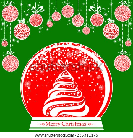 Christmas Greeting Card. Vintage card with Christmas Snow globe. vector illustration  - stock vector