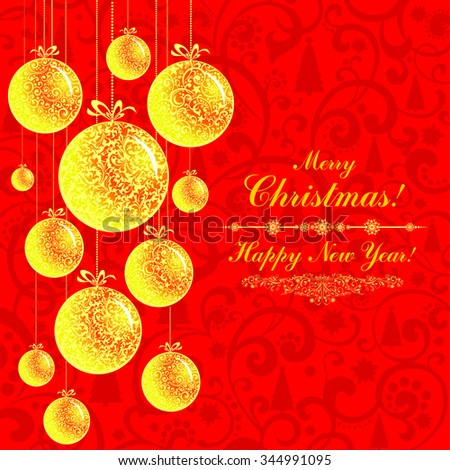 Christmas Greeting Card. Vintage card with Golden Christmas balls. Vector illustration  - stock vector