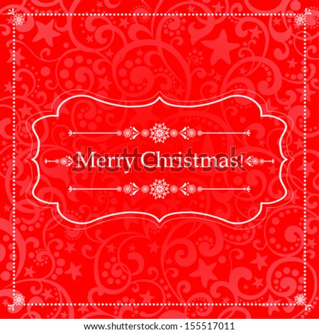Christmas Greeting Card. Vintage red background. vector illustration  - stock vector