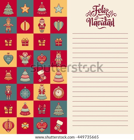 Christmas greeting card. Winter toys - Santa Claus, Nutcracker, Reindeer, gift box, balls, garlands. Congratulation message in Spanish - Feliz Navidad. Festive background for holiday party. Vector - stock vector