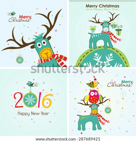 Christmas greeting card with a deer, the owl and the words