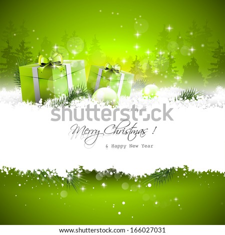 Christmas greeting card with balls and branches in snow  - stock vector