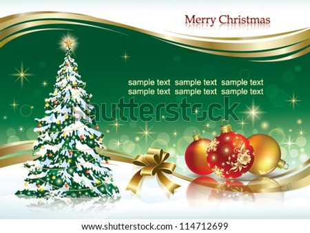 christmas greeting card with balls and xmas tree - stock vector