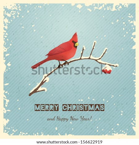 Christmas greeting card with bird. Vector illustration, eps 10. - stock vector