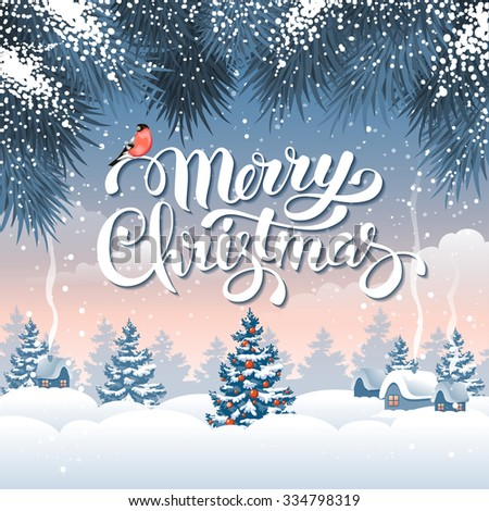 Christmas greeting card with calligraphic inscription Merry Christmas on winter snowbound landscape. Vector illustration. - stock vector