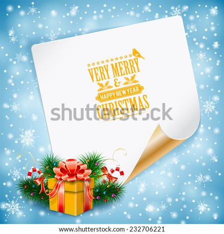 Christmas Greeting Card with Candy, Fir Branches, Gift and Sheet of Paper on Bright background, vector illustration. - stock vector