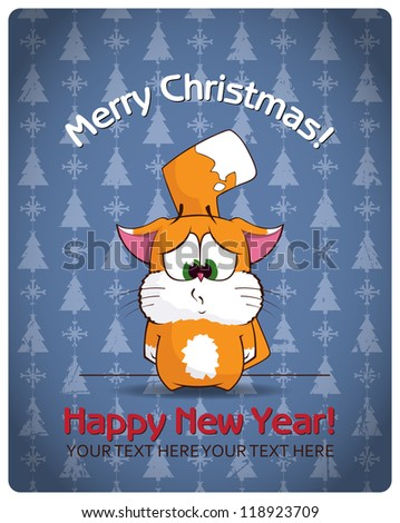 Christmas greeting card with cartoon cat. Vector illustration - stock vector