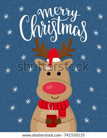 Christmas greeting card with cartoon cute deer with cup of coffee.