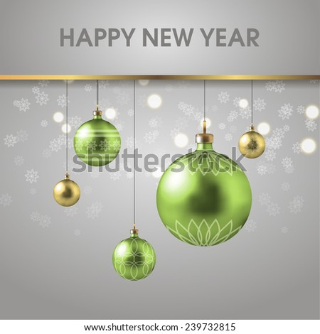 Christmas greeting card with Christmas decorations - stock vector